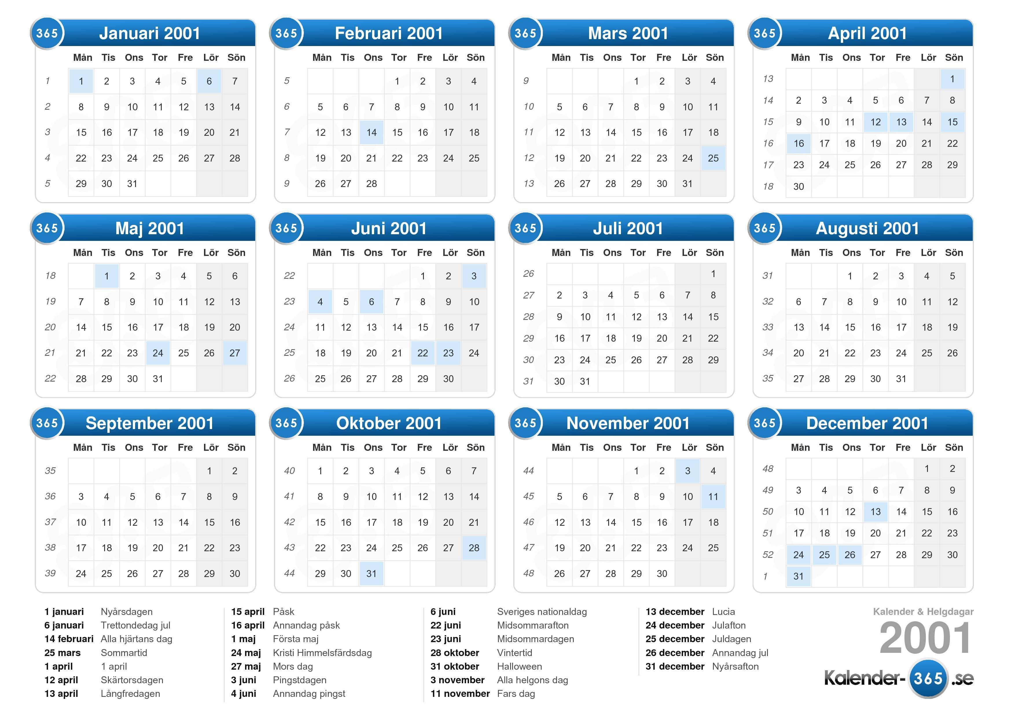Hämta Kalender med Helgdagar 2001 för att skriva ut