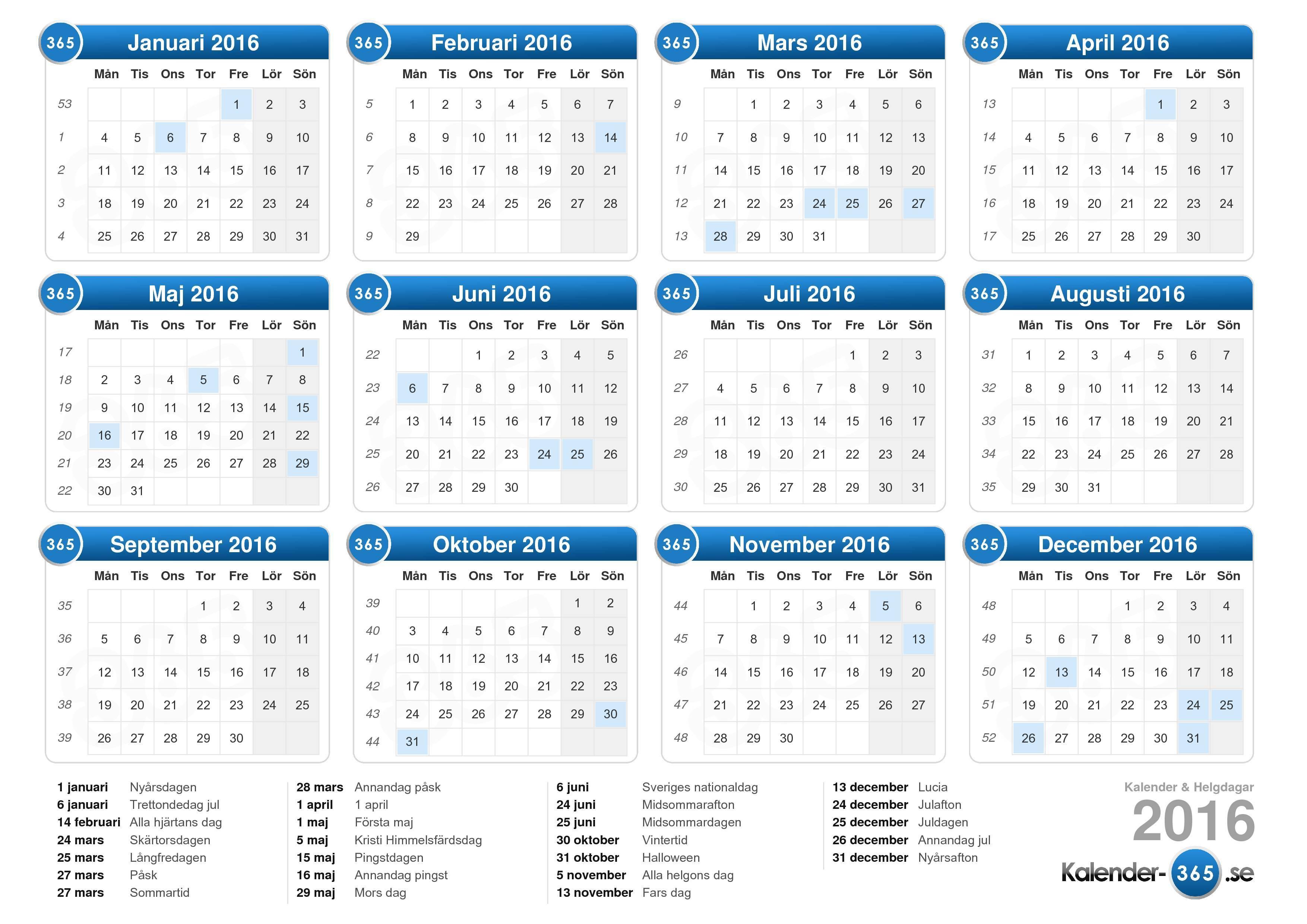 hent kalender 2016 med helgdagar liggande format 1 sida kalender 2016 ...