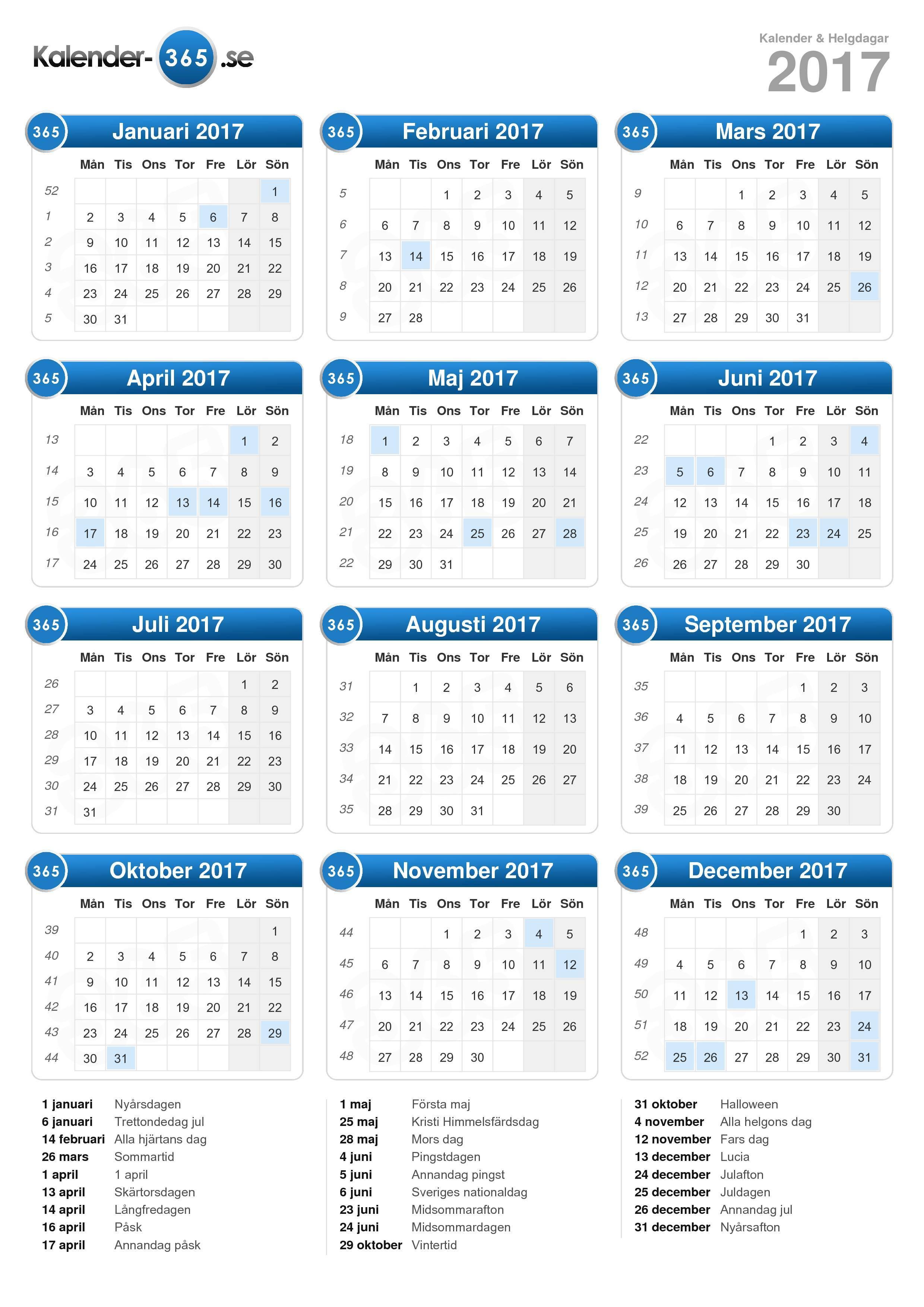 Kalender 2017 (stående format)