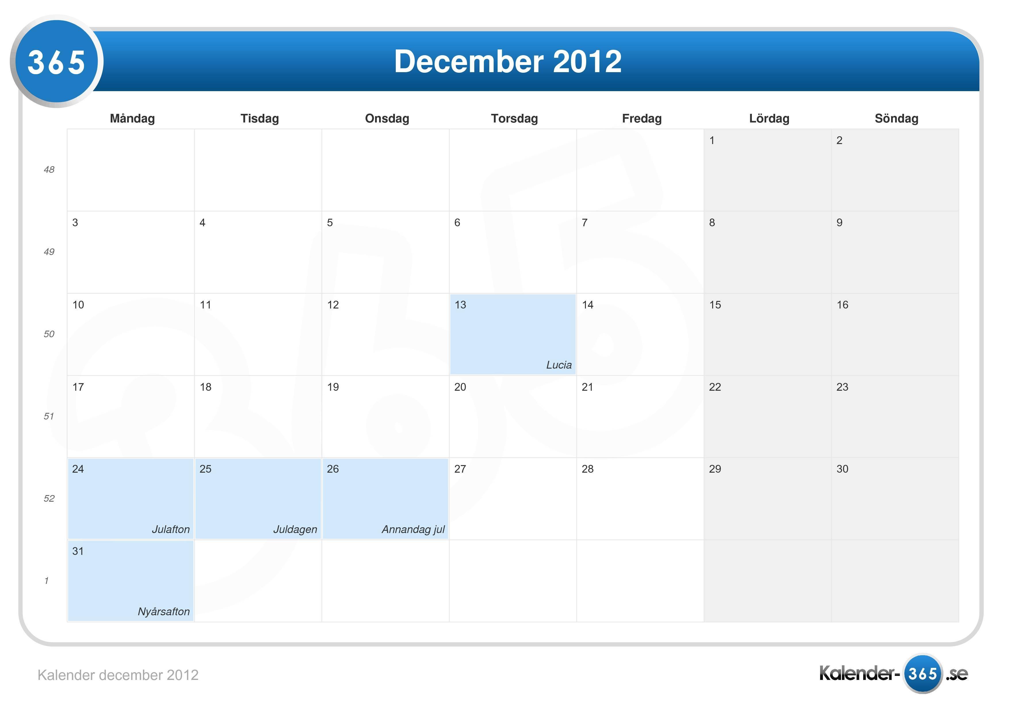 kalender december 2012