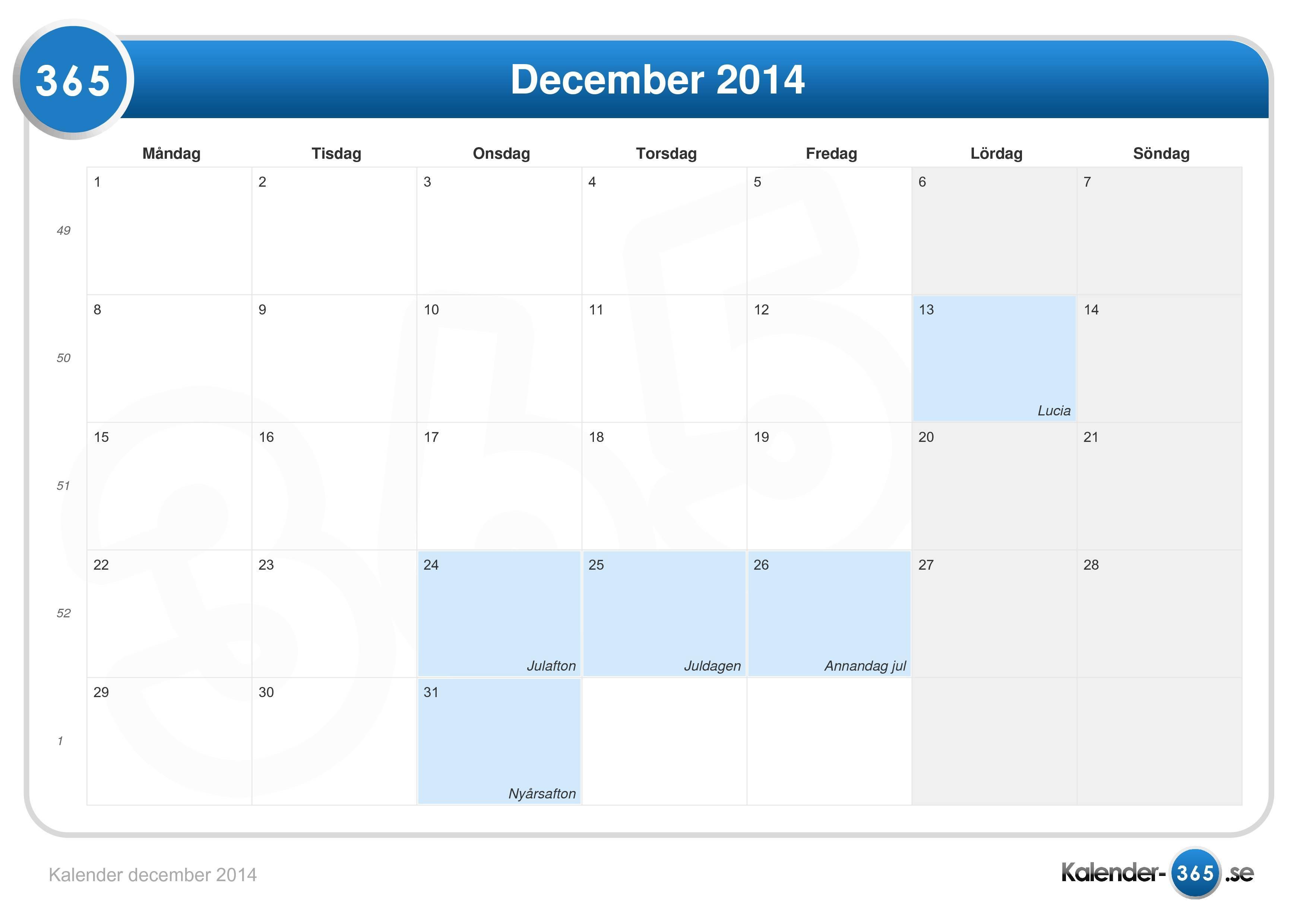 Kalender 2014 Med Veckor | Calendar Template 2016