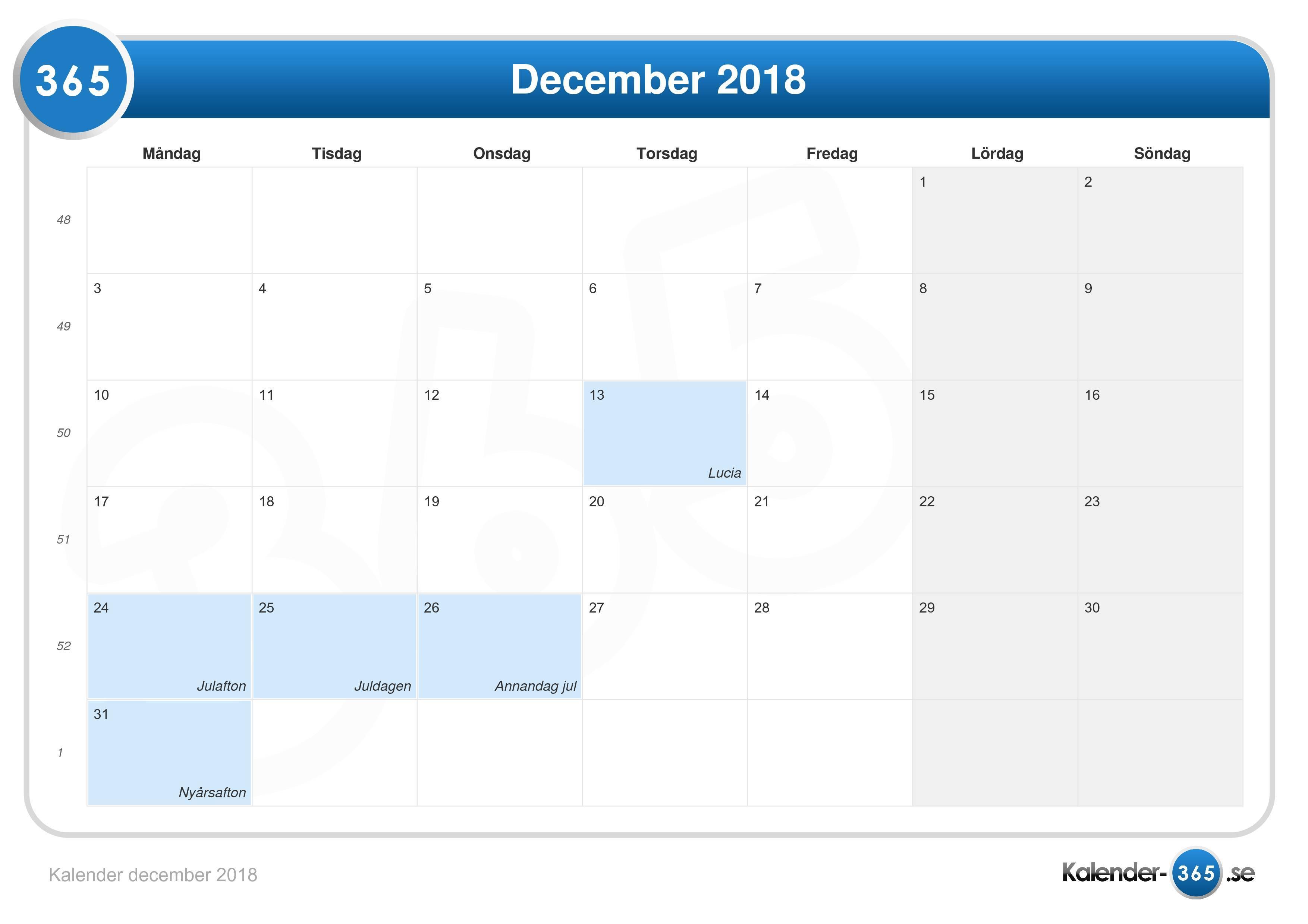 kalender vecka 2018