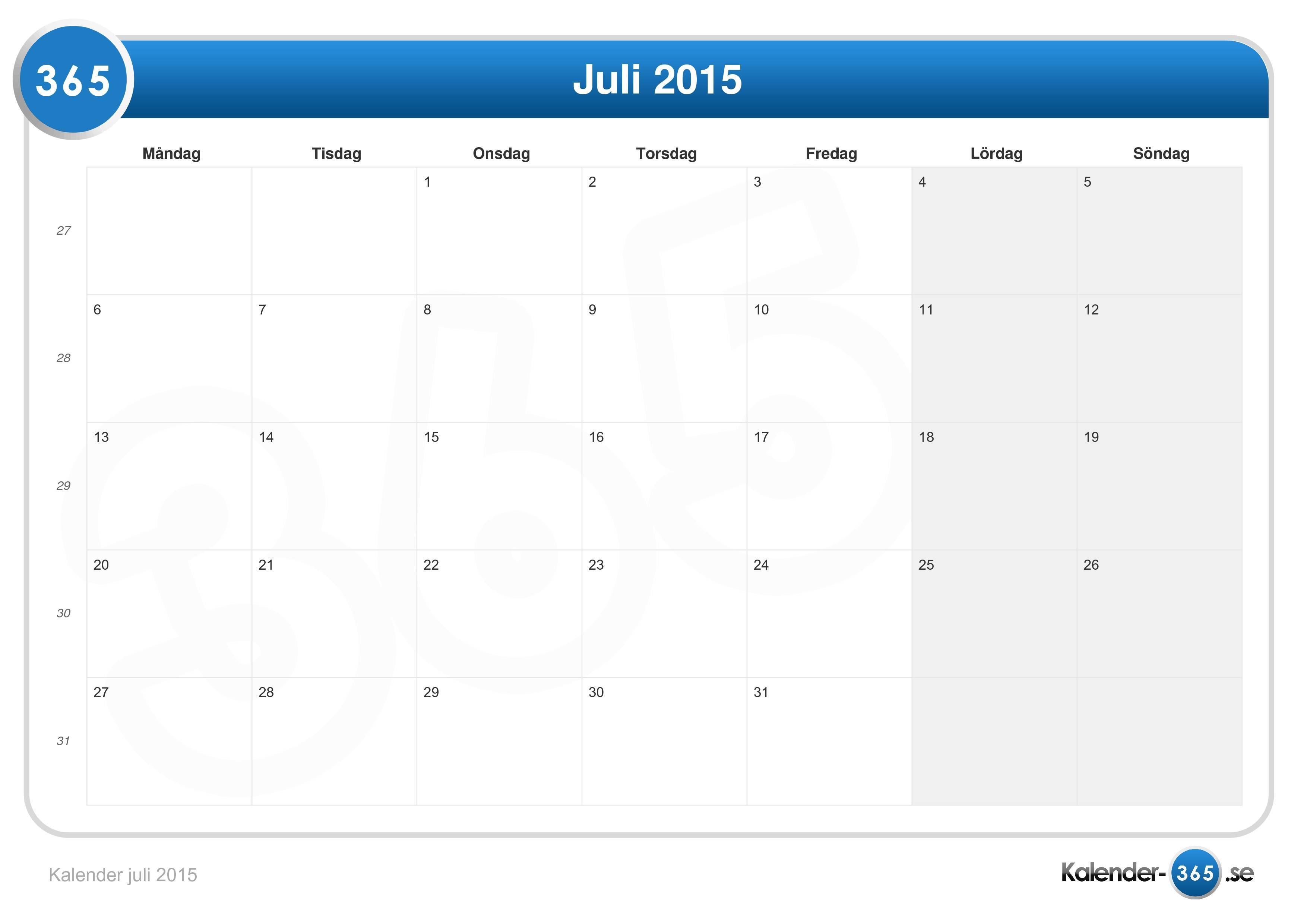 vecka 27 kalender
