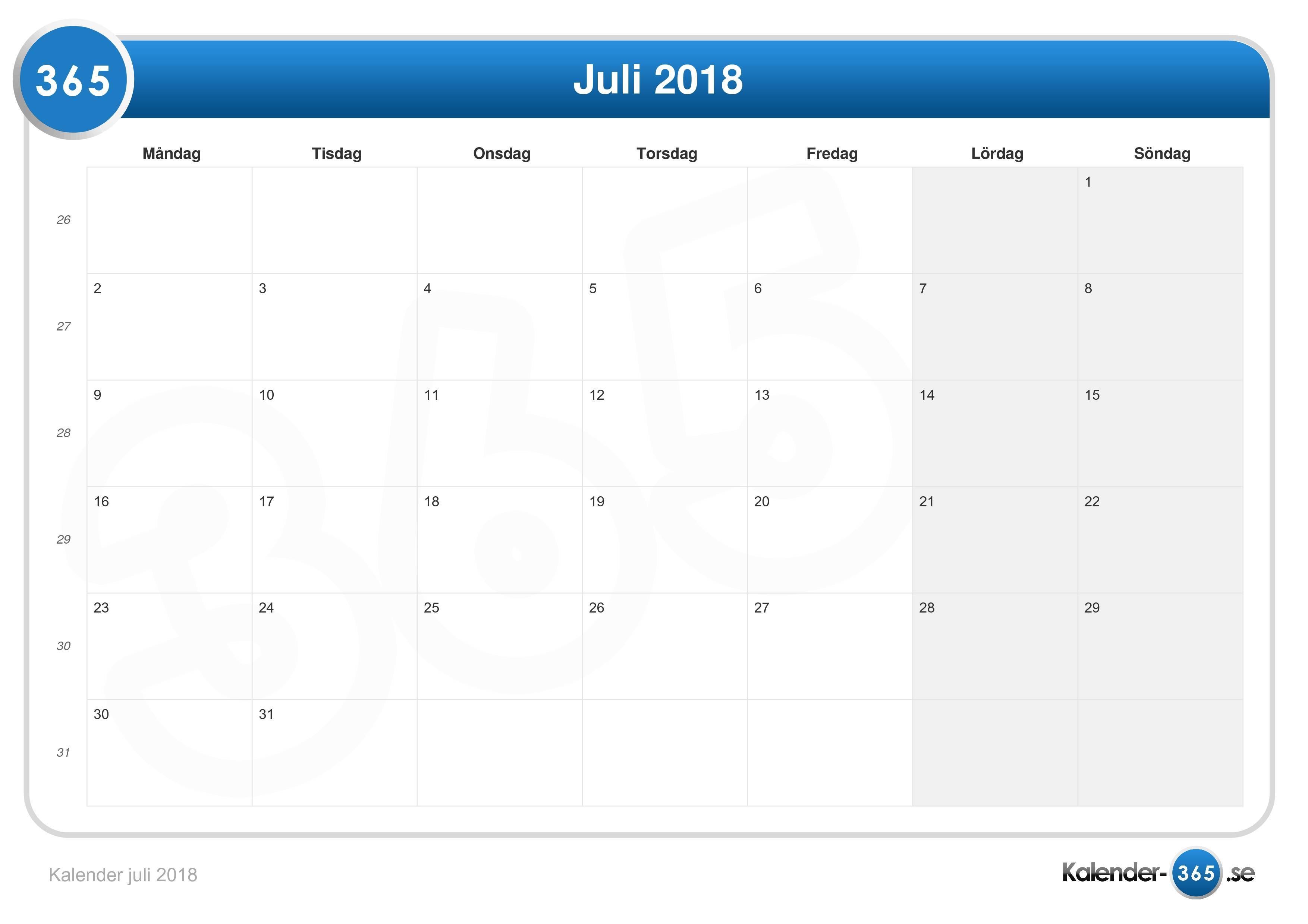 Kalender juli 2018 for Spiegel juli 2018
