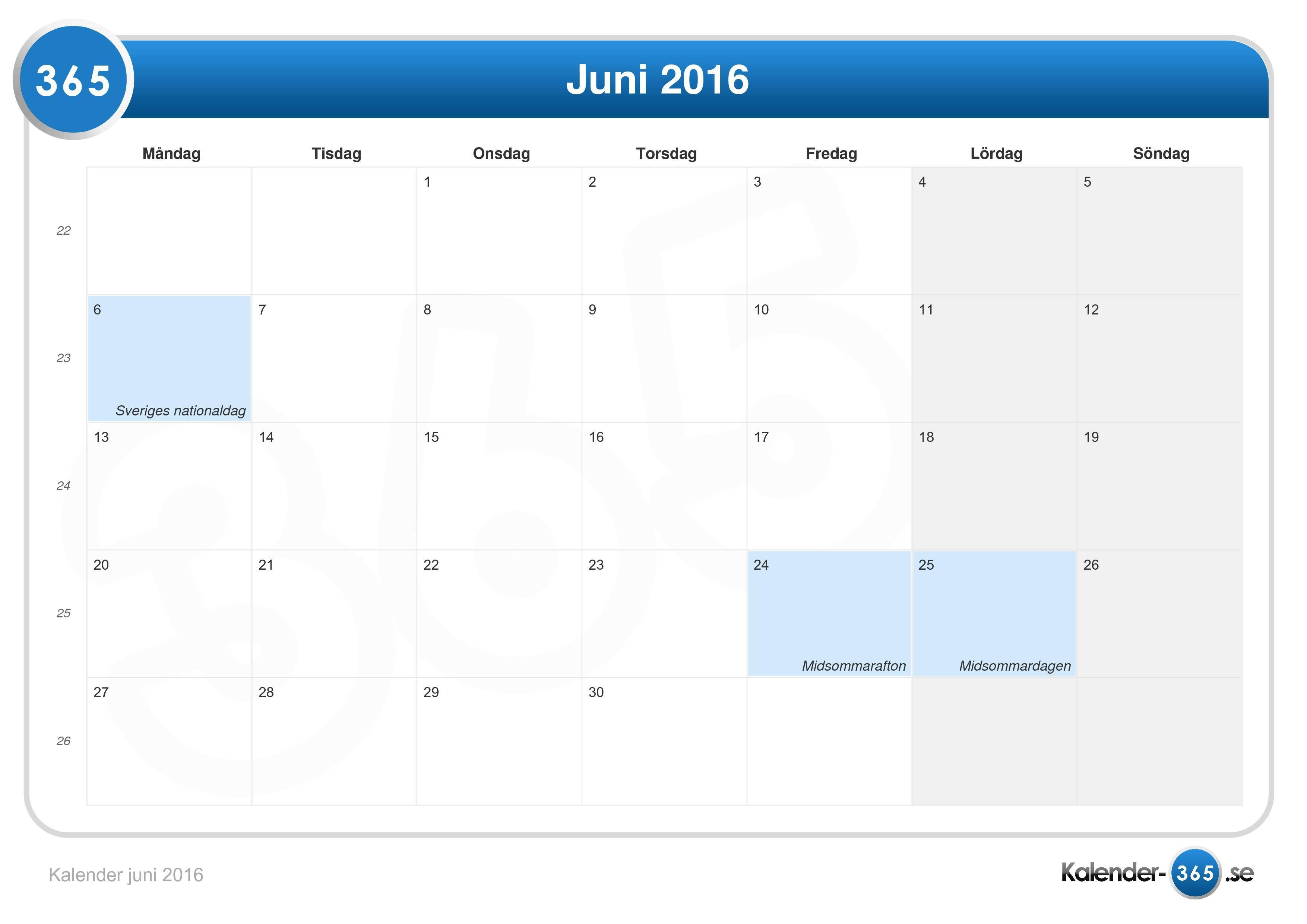 Kalender juni 2016