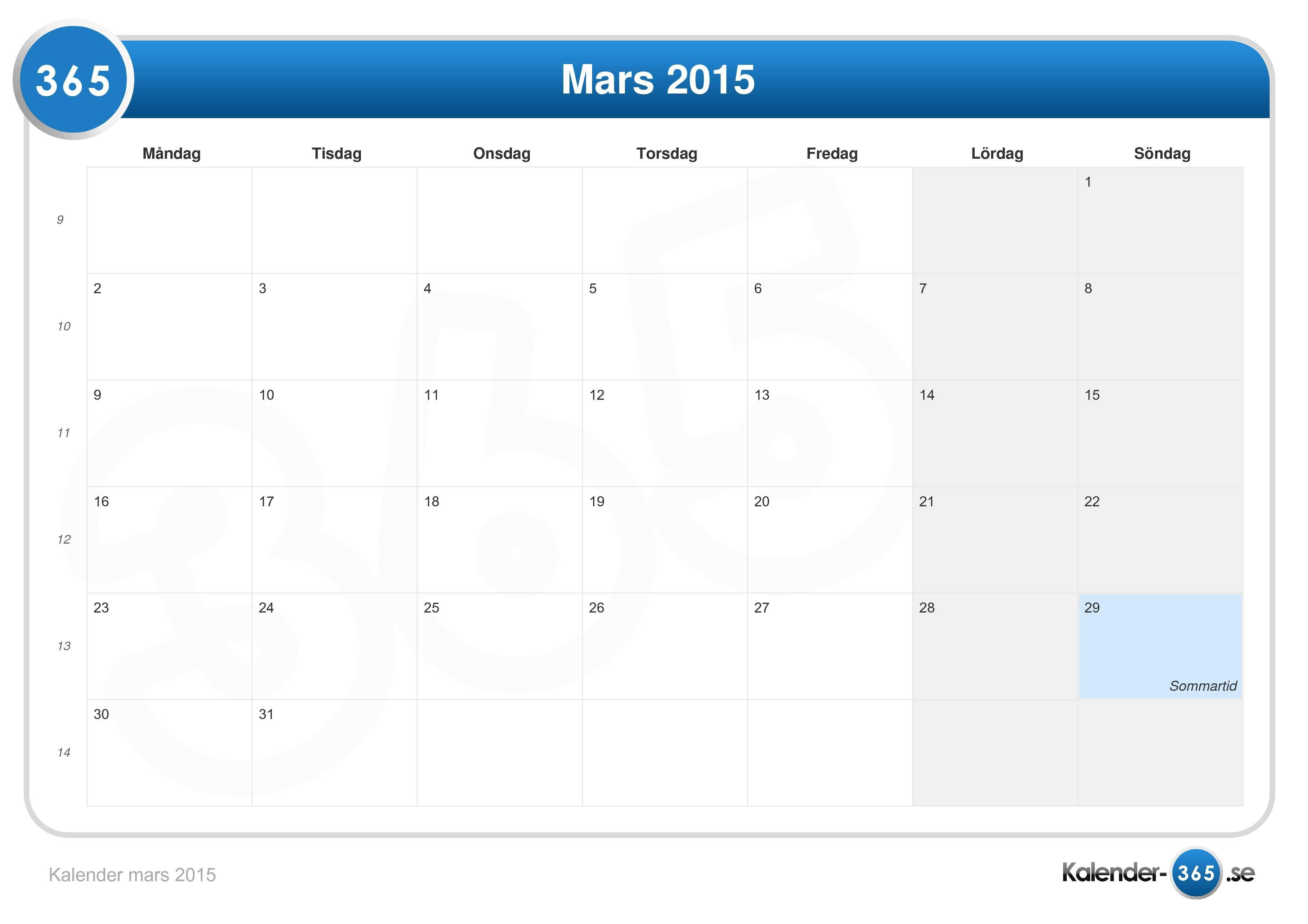 Kalender mars 2015